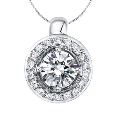 爱的潮汐 33分白18K金钻石吊坠