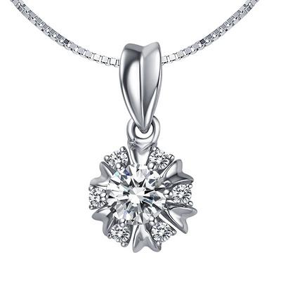 群花绮丽 18分白18K金钻石吊坠