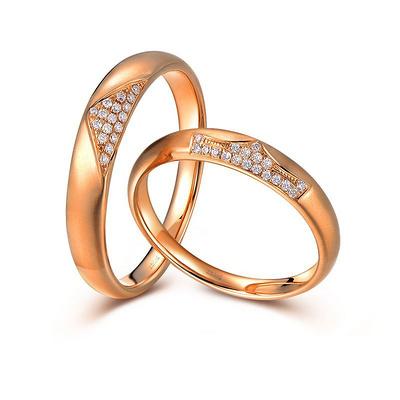 爱之冠 白18K金钻石对戒