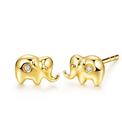 小萌象 1分黃18K金鉆石耳釘