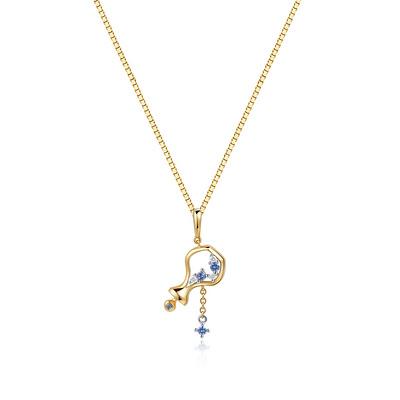 Aquarius水瓶座 3分彩18K金钻石吊坠