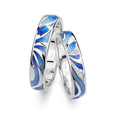 沁蓝 白18K金钻石对戒