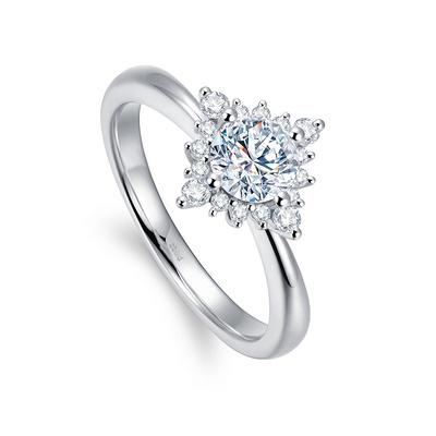 北极光追光系列绽彩钻石戒指 32分白18K金钻石女戒