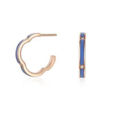 Into Colour悦色系列许愿喷泉蓝珐琅耳钉 2分红18K金钻石耳钉