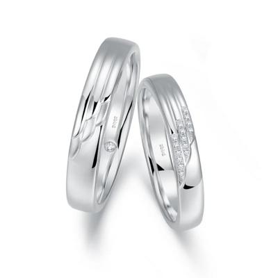 浪漫之翼(对戒男) 白18K金钻石对戒