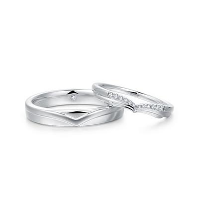 天使之翼(对戒男) 白18K金钻石对戒