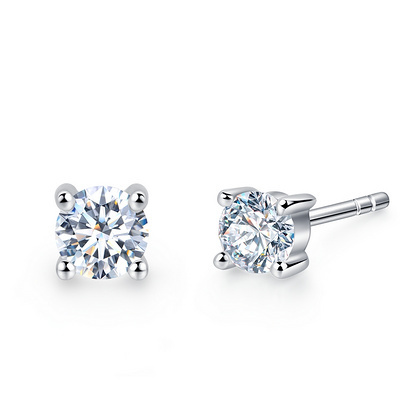 年华 26分白18K金钻石耳钉